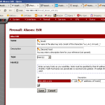 Firewall -> Aliases page in the pfSense web GUI.