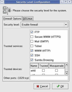 The firewall GUI in Fedora.