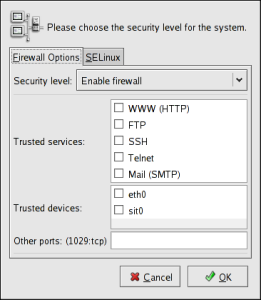 Firewall Options tab in the Red Hat firewall configuration GUI.